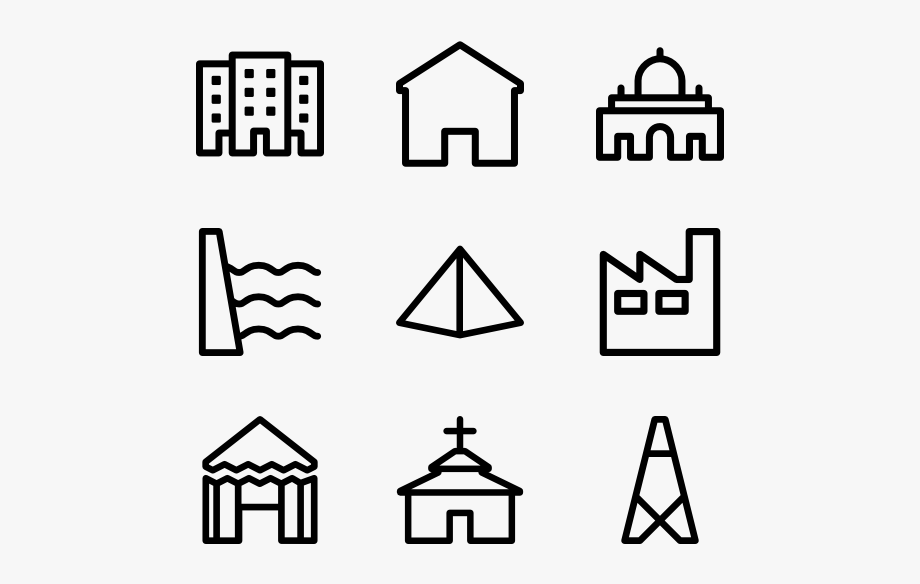 3 Building Outline Icon Packs.