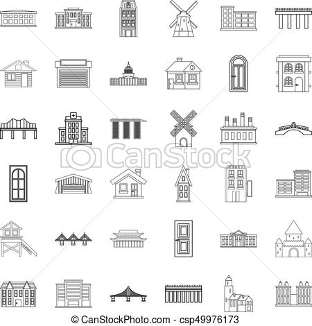 Building icons set, outline style.