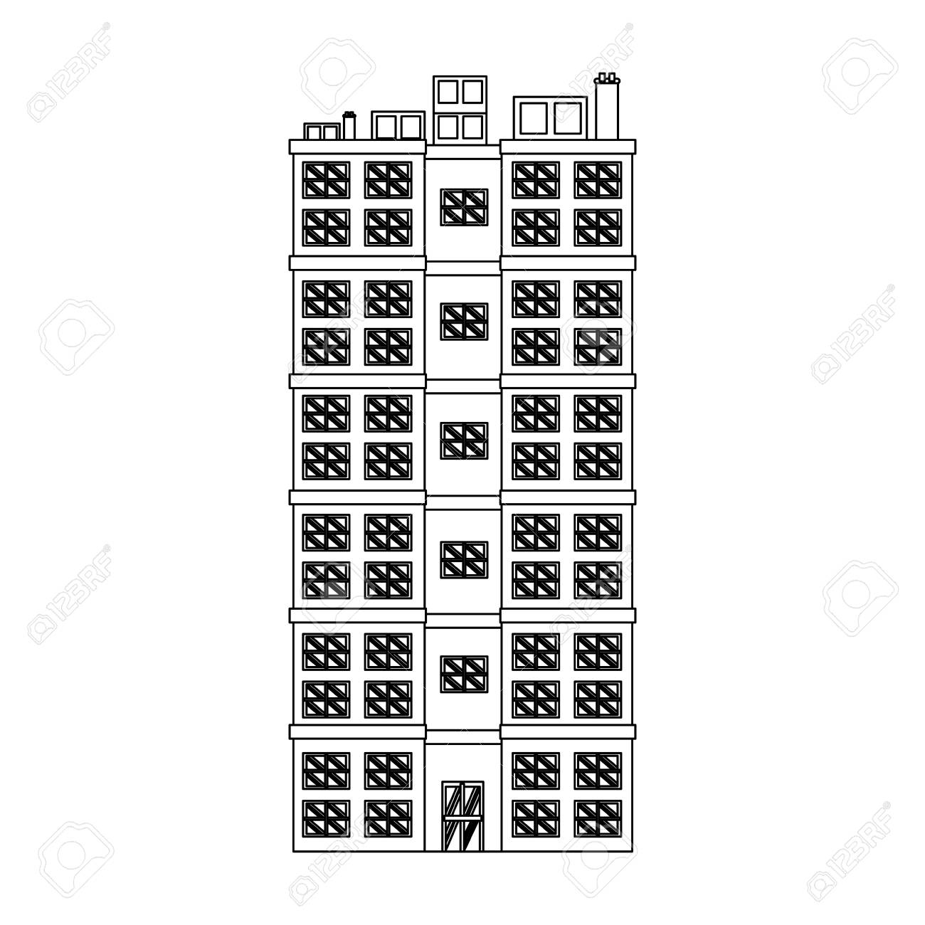 building residential apartment structure image outline vector...