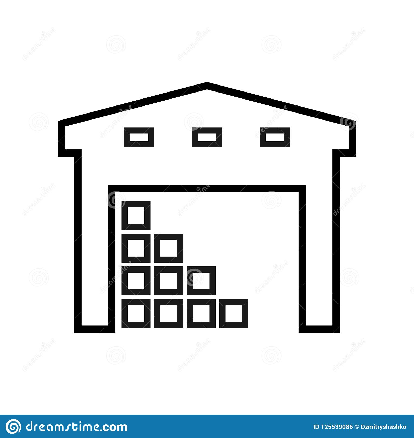 Warehouse Building Outline Icon Stock Vector.