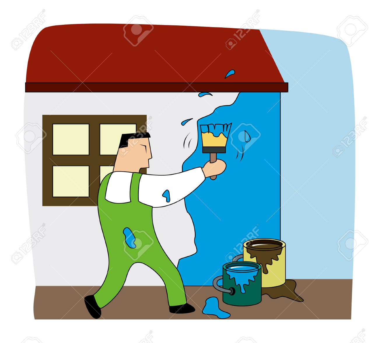 Painting a house clipart.
