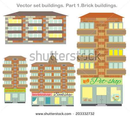 Shopping Mall Buildings Exterior Design Set Stock Vector 451049557.