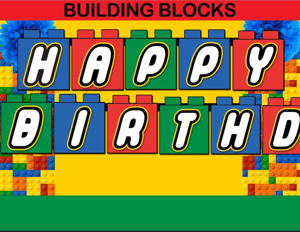 Building blocks clipart birthday boy.
