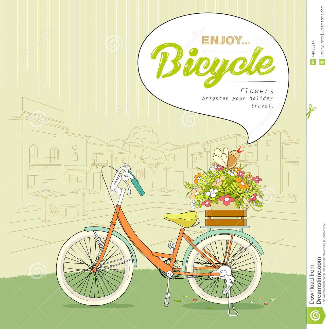 Bicycle Pots Flower Sketching Landscape Building Stock Vector.