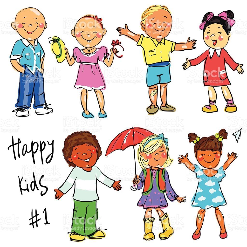 Happy Kids Part 1 Hand Drawn Clipart stock vector art 478901492.