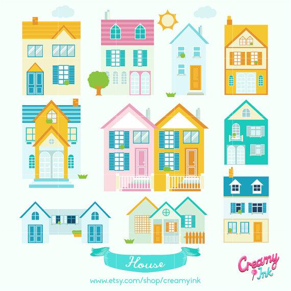 Little Neighborhood Digital Vector Clip art / Cute House Digital.