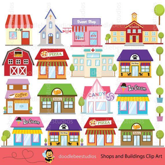 Shops Clipart, Buildings Clipart, Shop Clipart, Building Clip Art.