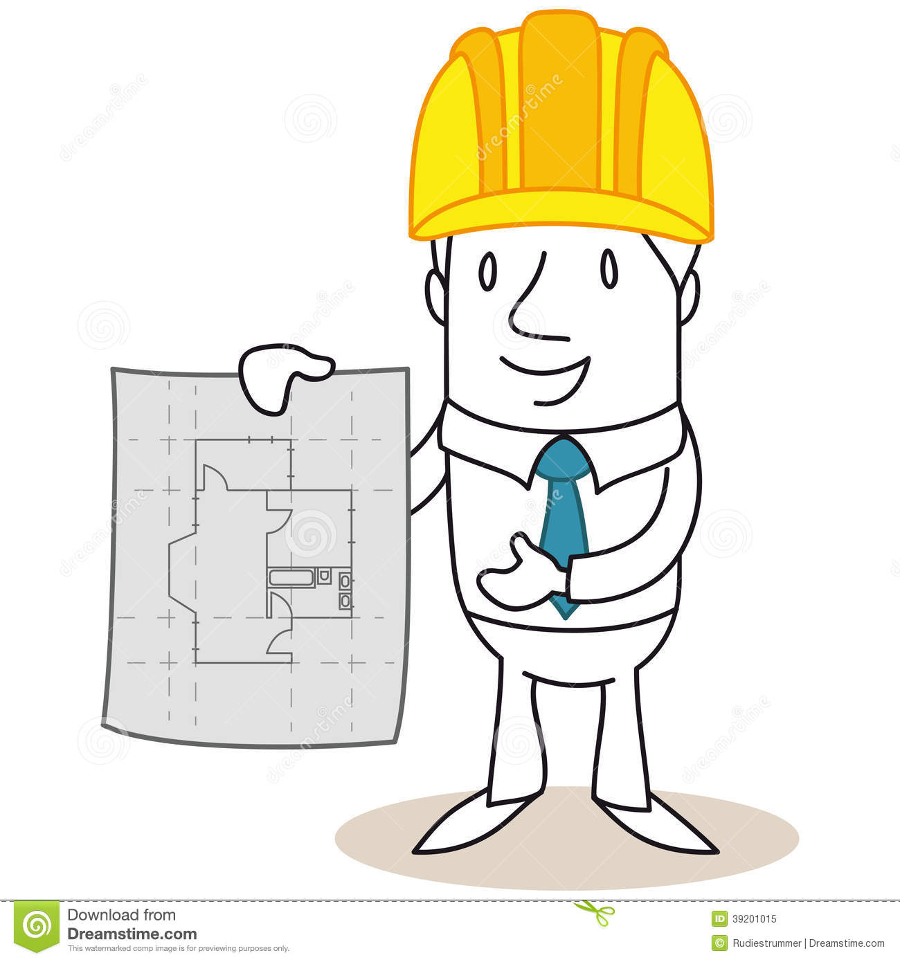 Cartoon Architect Construction Manager Building Plan Stock Vector.
