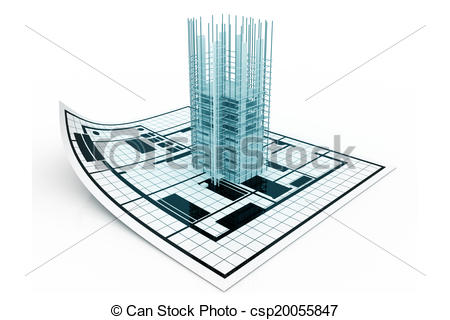 Drawing of 3d modern building and plan blueprint csp20055847.