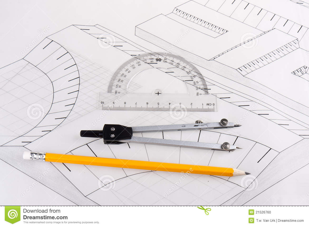 Building Plan Of A Civil Construction Stock Photo.