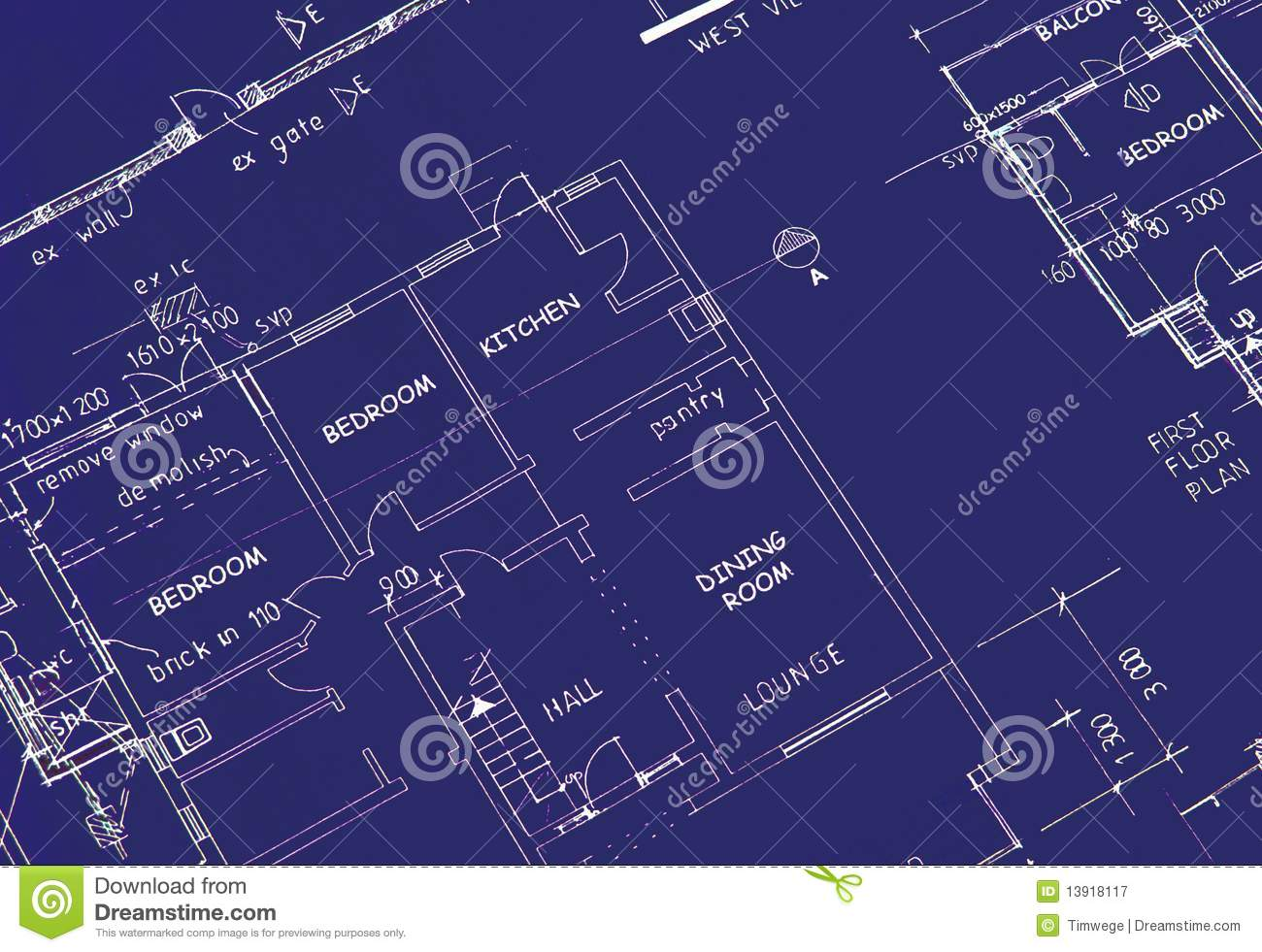 Blueprint Of Building Plans Royalty Free Stock Photography.