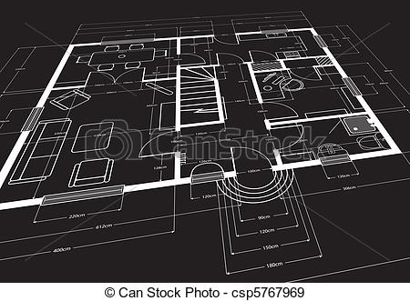Vector Clip Art of building plans.
