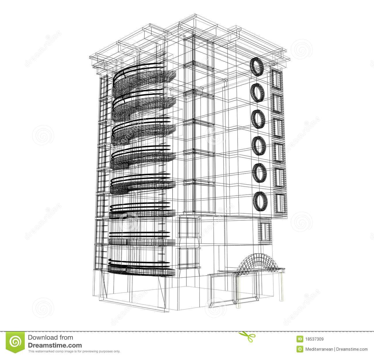 3d Building Plan Royalty Free Stock Images.