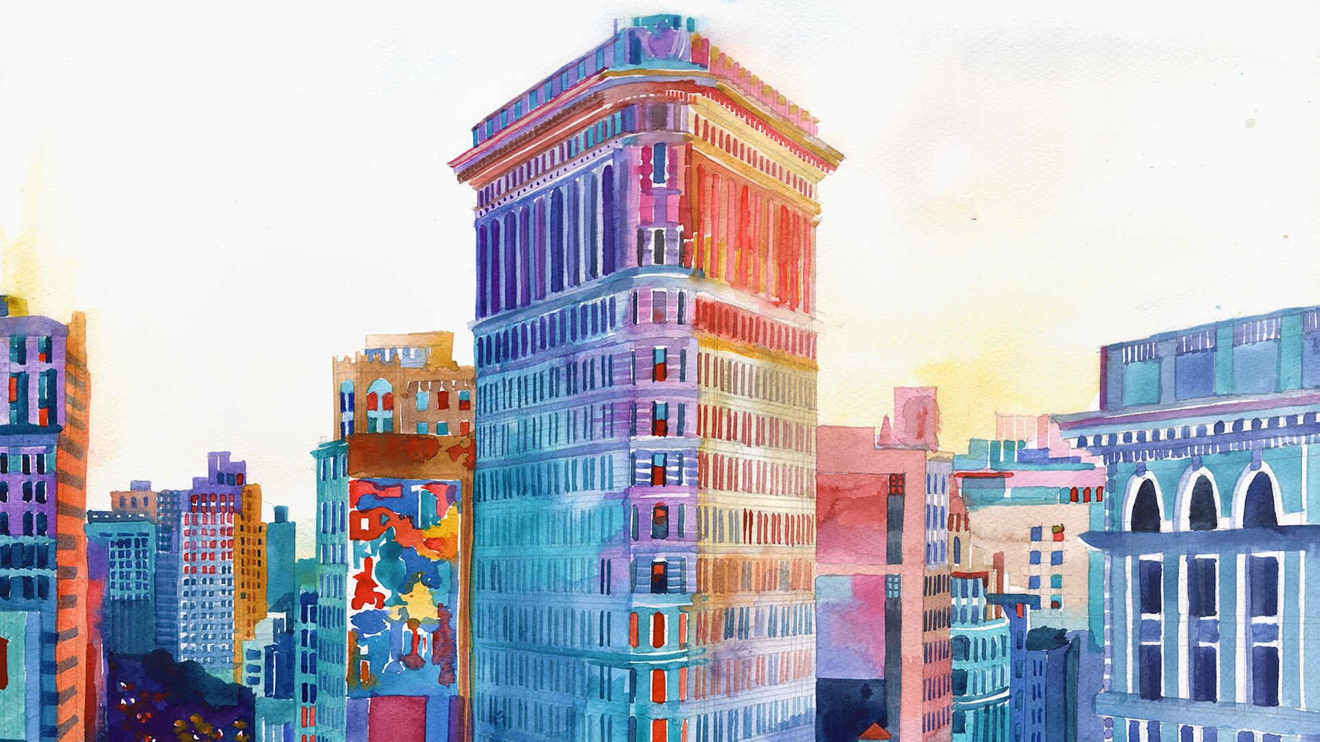 5041469 1920x1080 Building, New York, Watercolor wallpaper and.