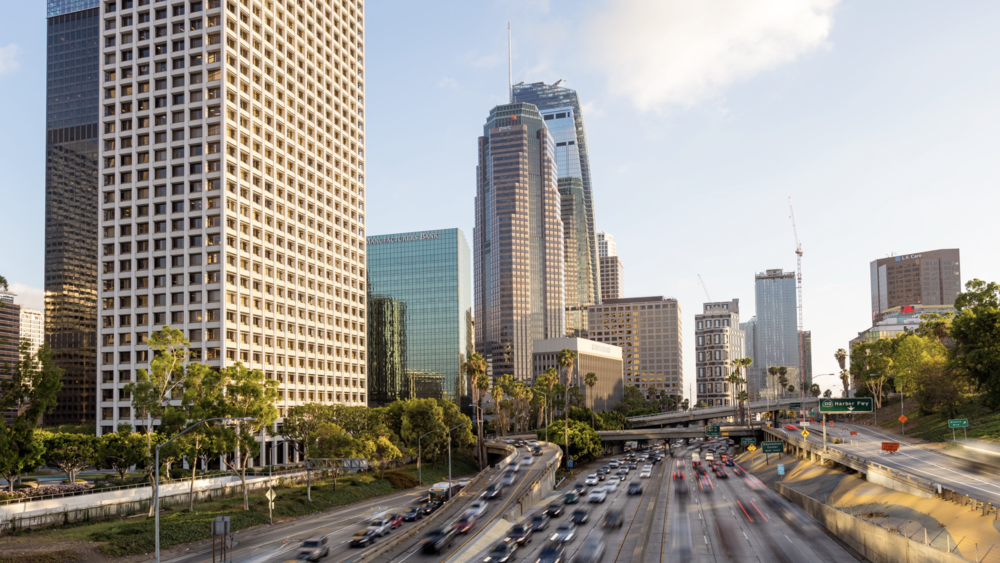 (HD) Downtown Los Angeles Freeway and Buildings.