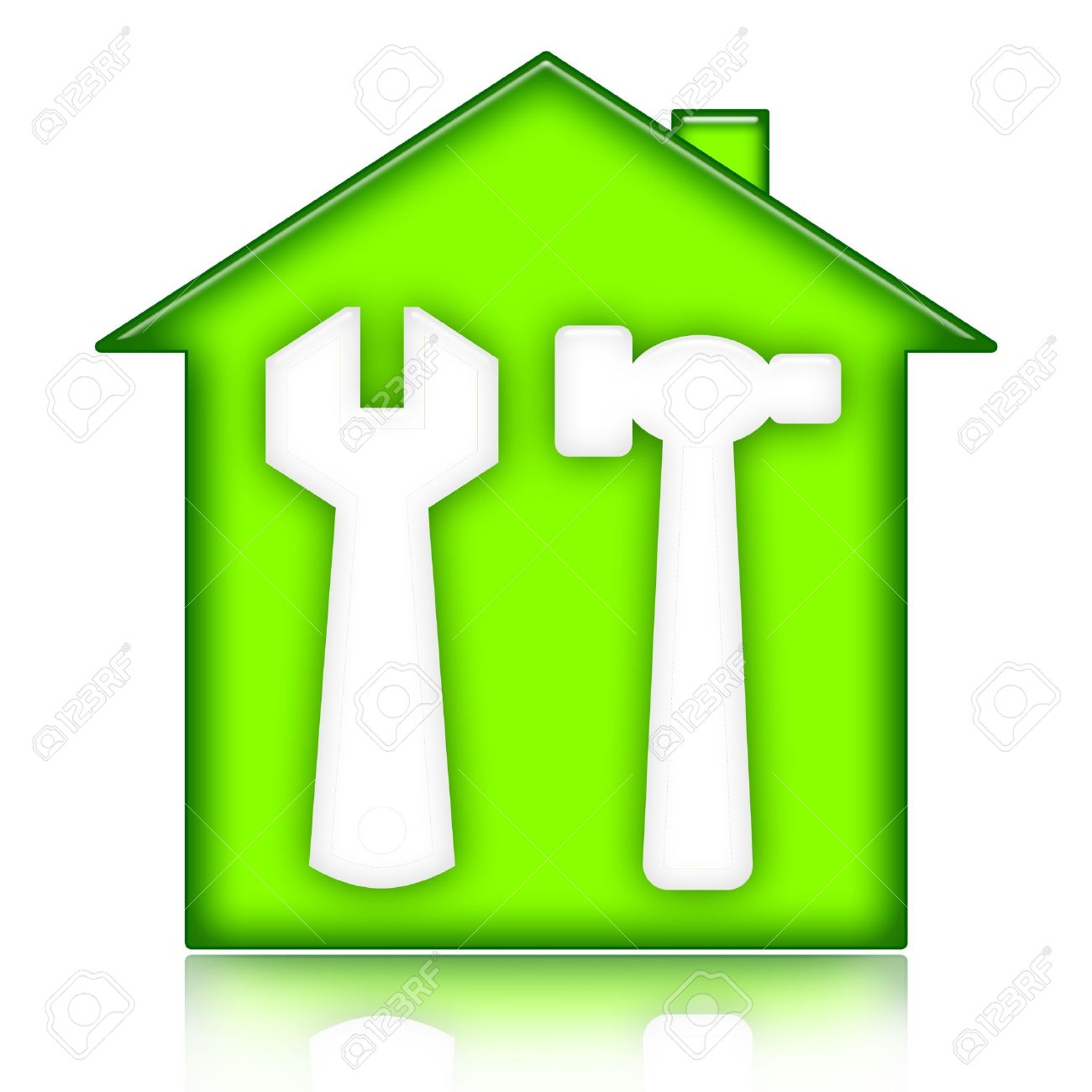 Home Building And Renovation, Green House With Wrench And Hammer.