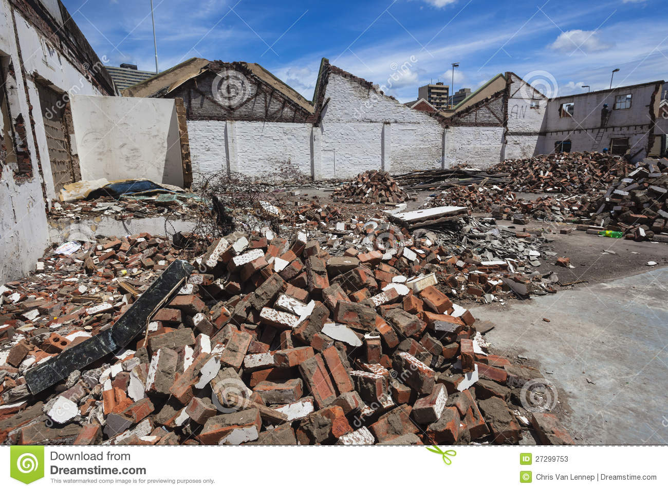 Building Demolished Bricks Rubble Editorial Stock Photo.