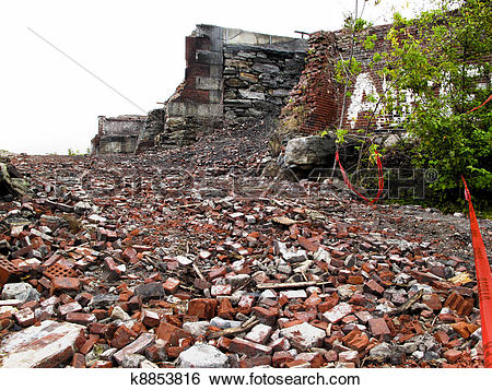Stock Images of Destroyed Building and rubble k8853816.