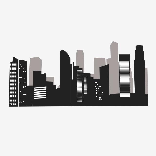 City Buildings Group Silhouette Vector, Building Silhouette, Black.