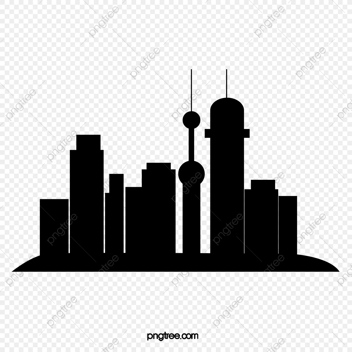 Silhouette Of City Building, Silhouette Vector, City Vector.