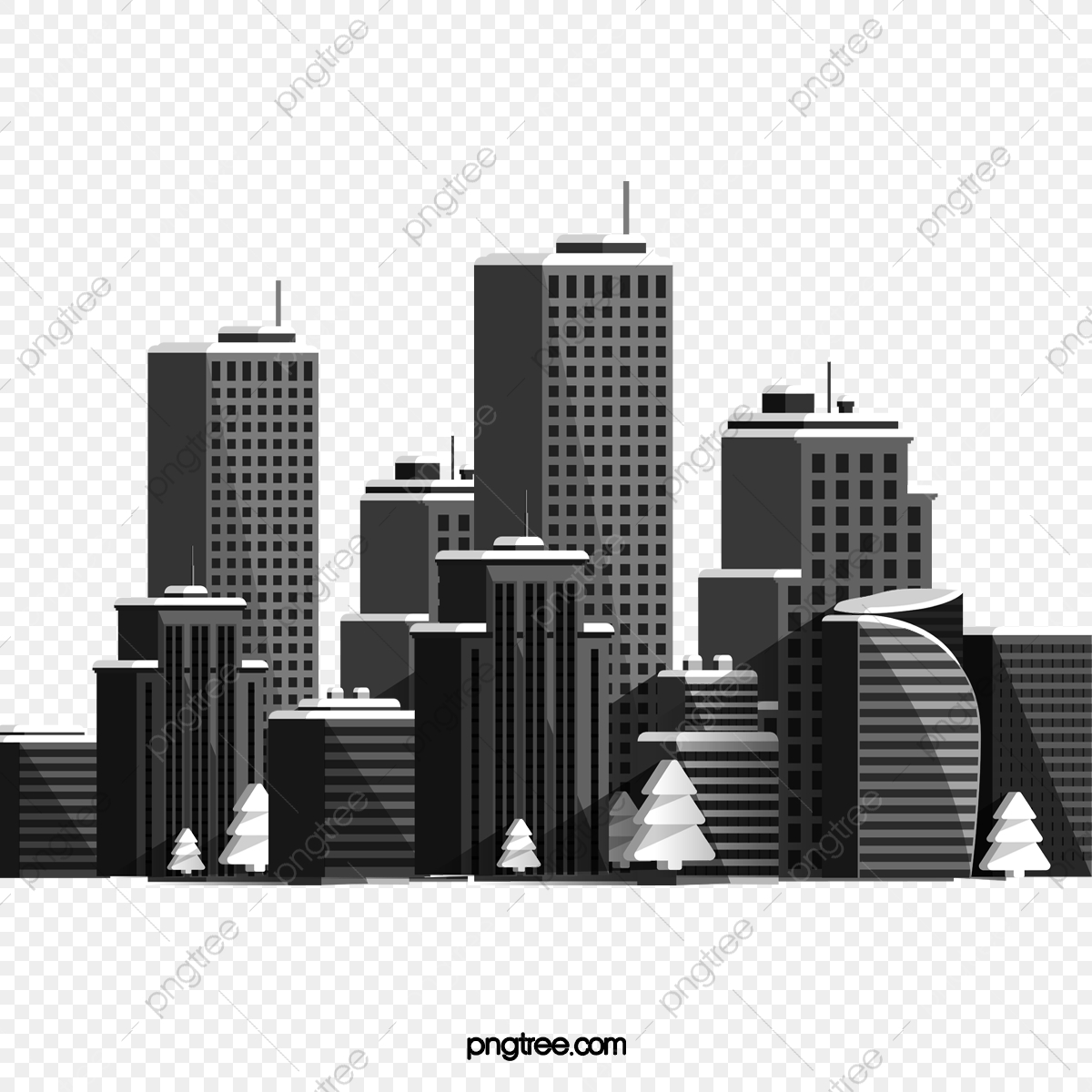 Building Silhouette, Building Vector, Silhouette Vector, City PNG.