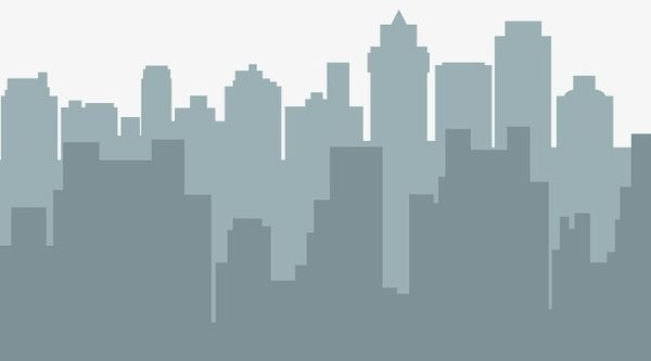 Gray Silhouettes City Double, City Vector, City, City Silhouette Png.