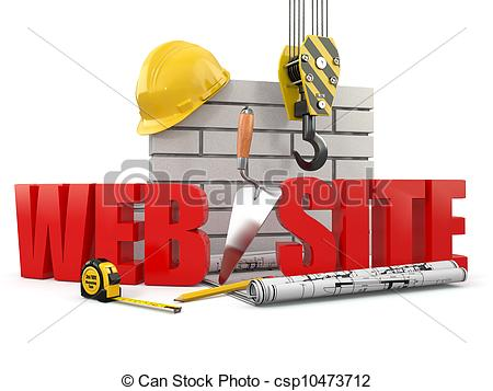 Clipart of Web site building. Crane, wall and tools. 3d.