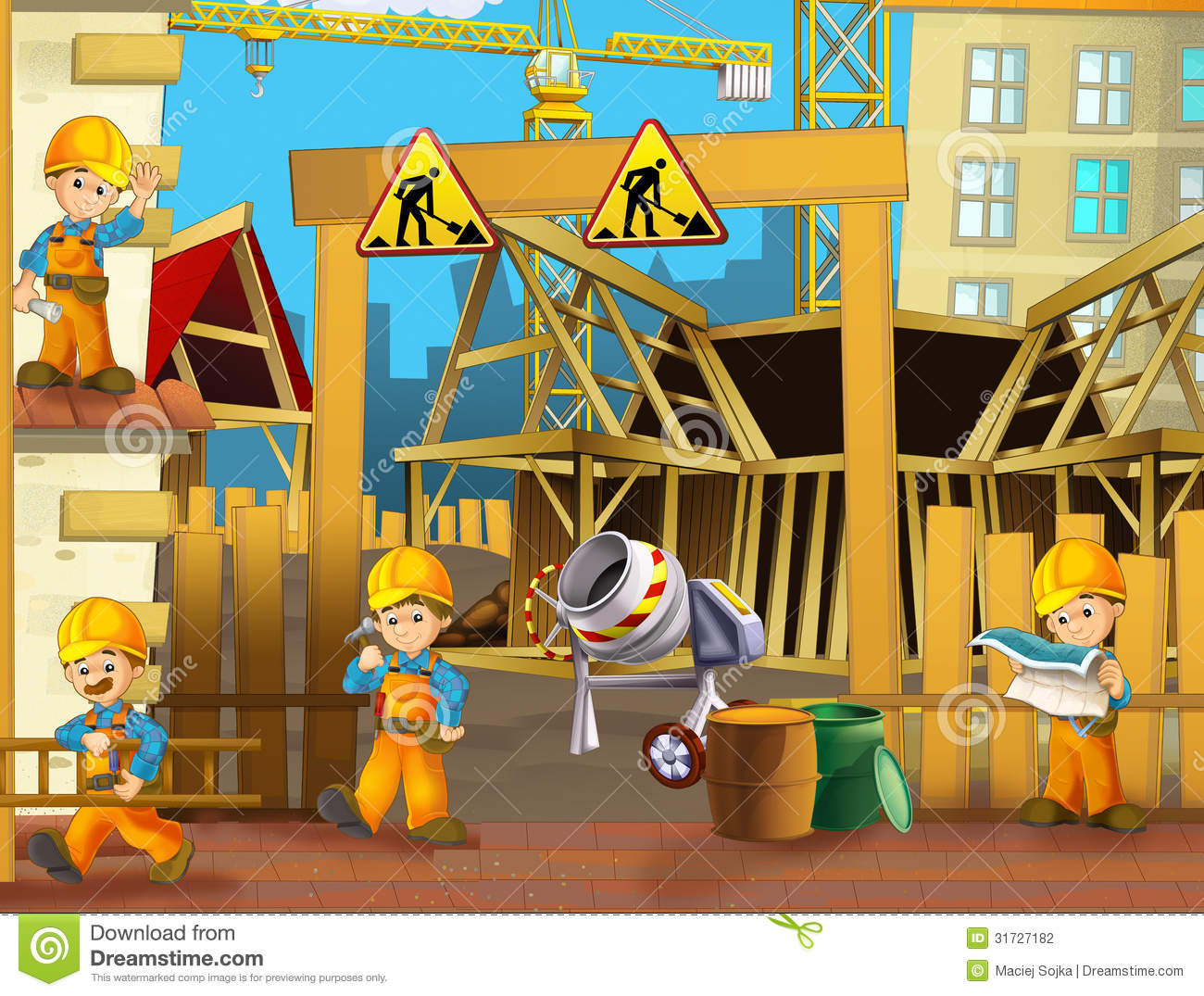 Building construction site clipart.