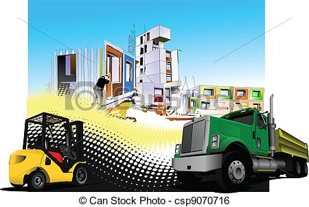Clip Art Vector of Building site with lorry (truck) a.