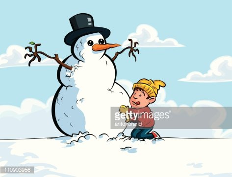 Cartoon of little boy building a snowman Clipart Image.