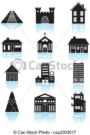 Vectors Illustration of World Travel Structures Black.