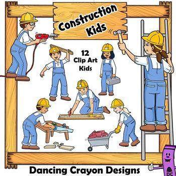 Construction Kids Clip Art.