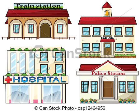 Clipart Vector of A train station, a school, a police station and.