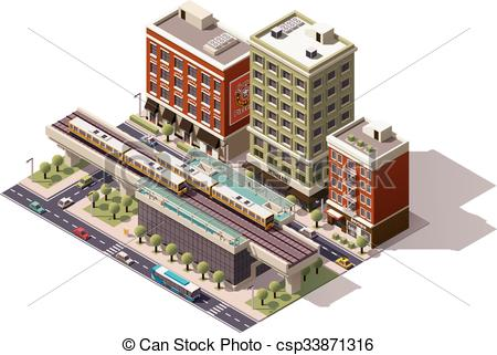 Vector Clip Art of Vector isometric city train station.