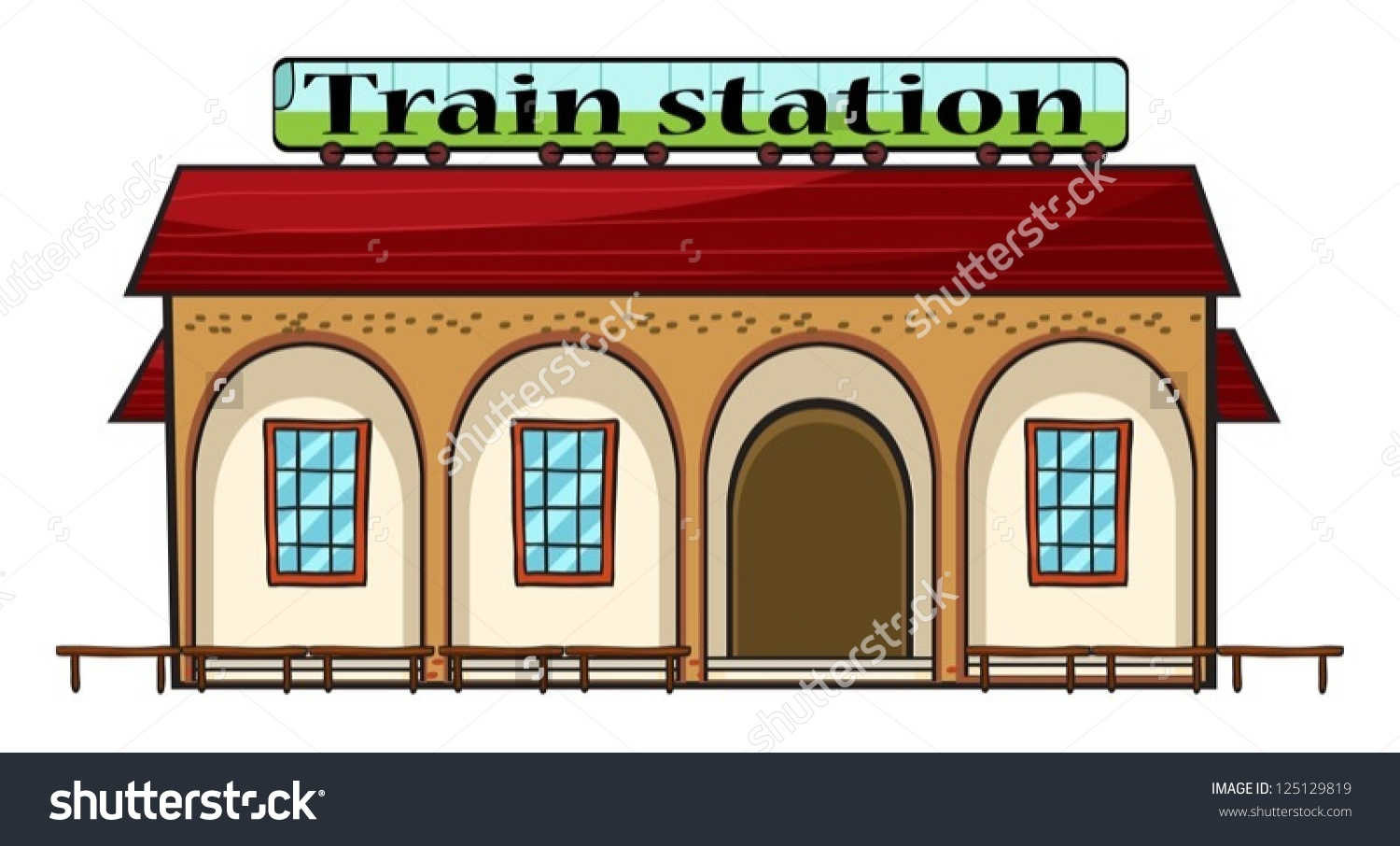 Illustration Train Station On White Background Stock Vector.
