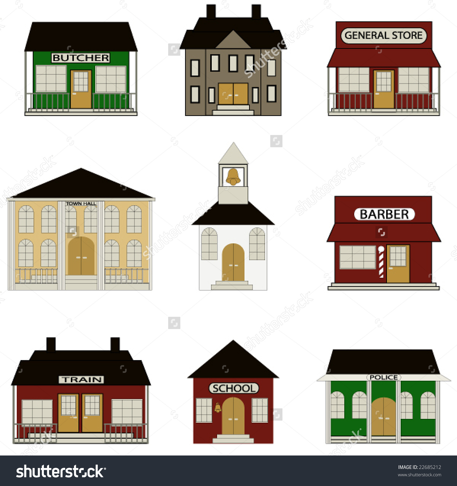 Town Buildings Including School Train Station Stock Vector.