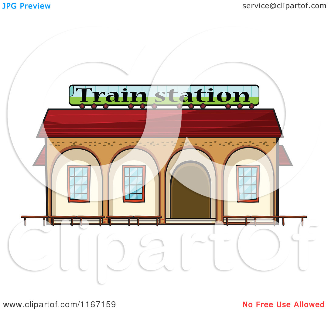 Cartoon of a Train Station.