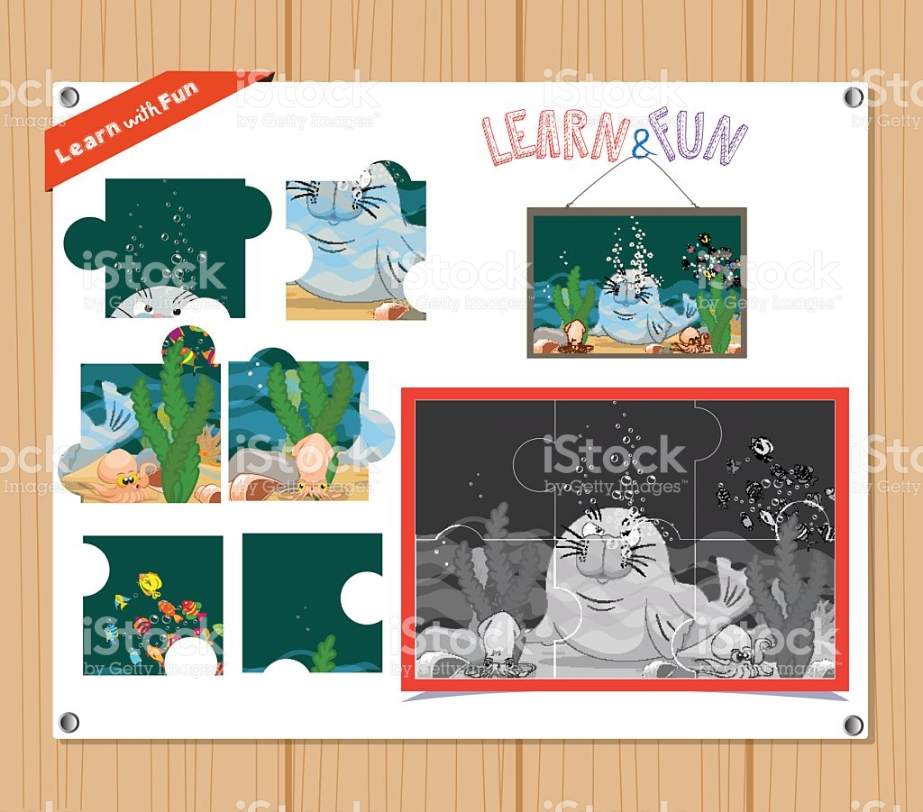 Education Jigsaw Puzzle Game For Preschool Children With.
