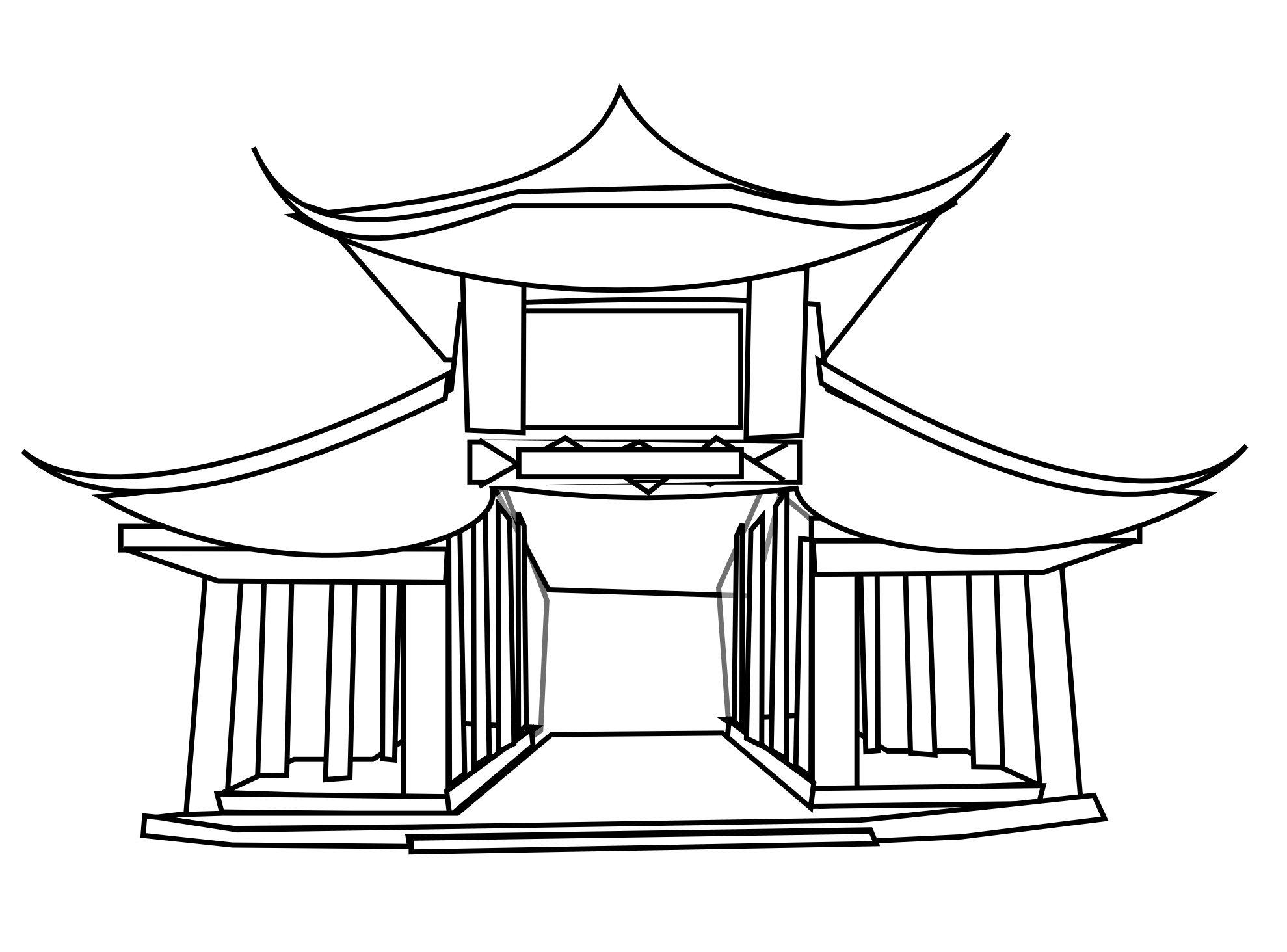 Chinese building clipart black white.
