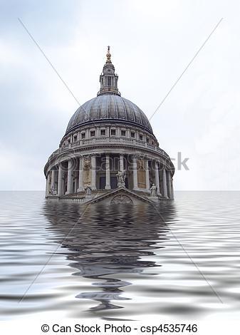 Stock Illustration of St Pauls underwater.