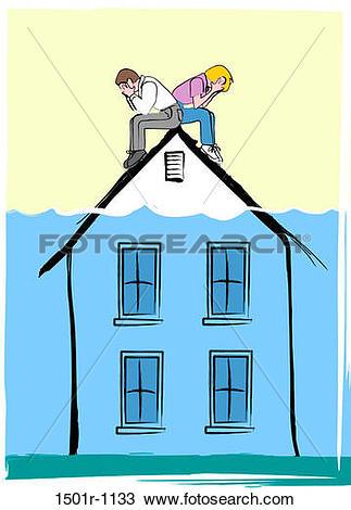 Stock Photo of House underwater, illustration 1501r.