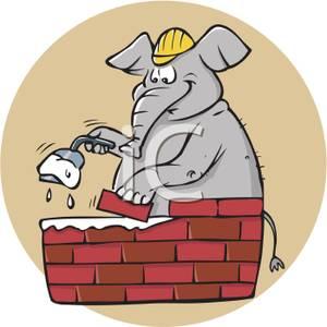 Building a Brick Wall Clip Art.