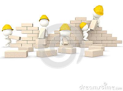 3D Guys Building A Wall Stock Photos.