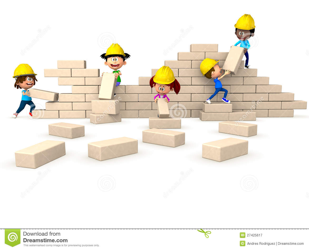 3D Kids Building A Wall Royalty Free Stock Photography.