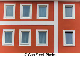 Apartment building with people on windows clipart.