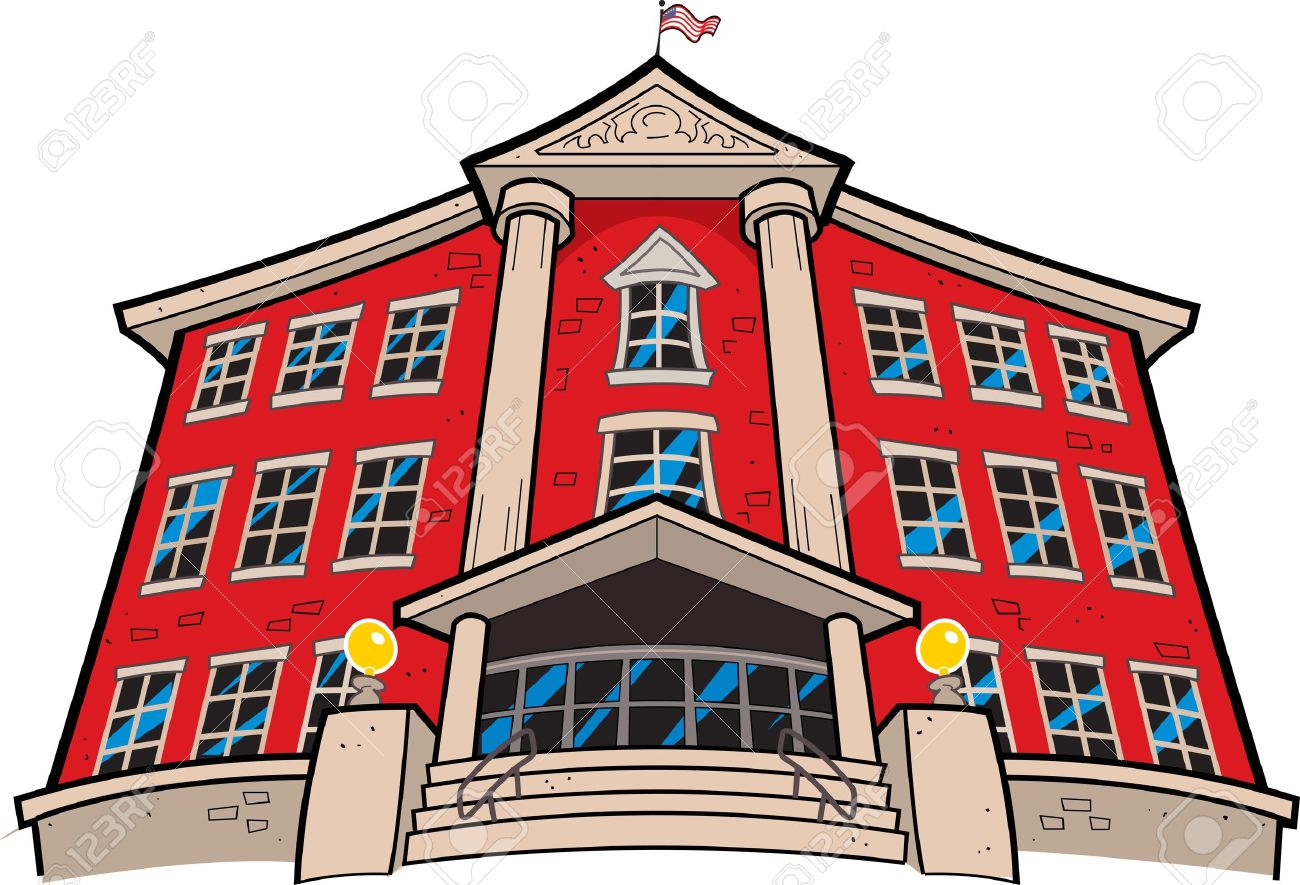 Large Imposing Red Brick School Building With American Flag.
