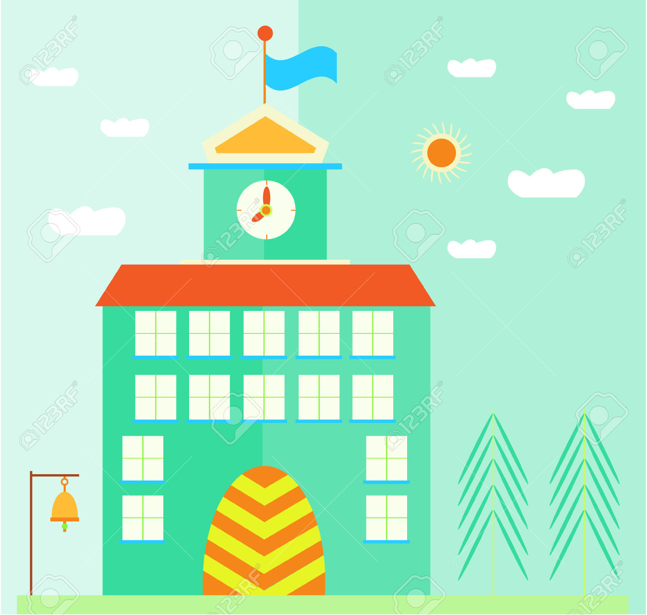 Green, School Building With Flag, Clock, Landscape With Sun.