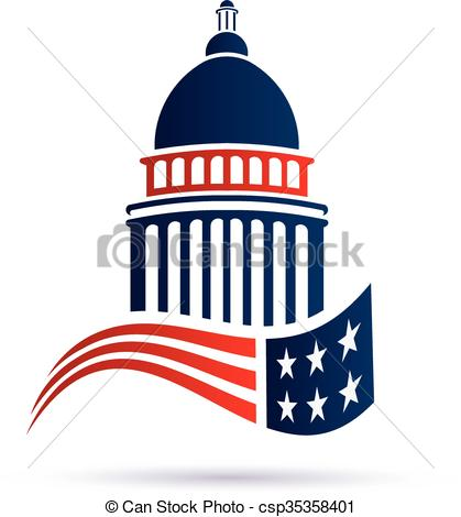 Vector Clipart of Capitol building logo with american flag. Vector.
