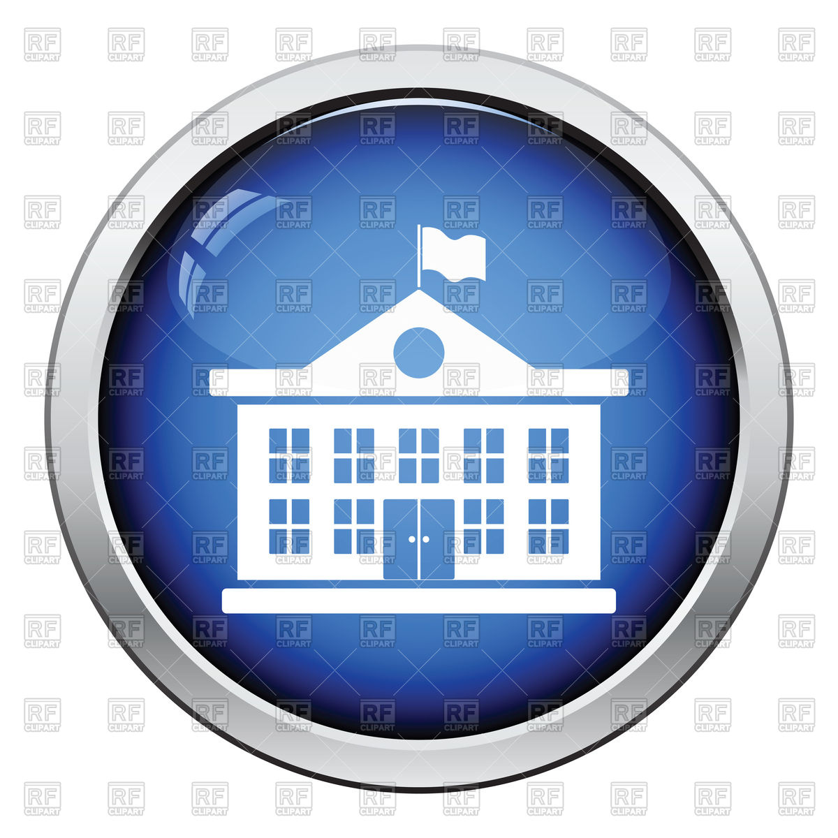 Icon of school building with flag Vector Image #119760.