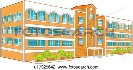 Clip Art of modern architecture, school, building, tree, flag.